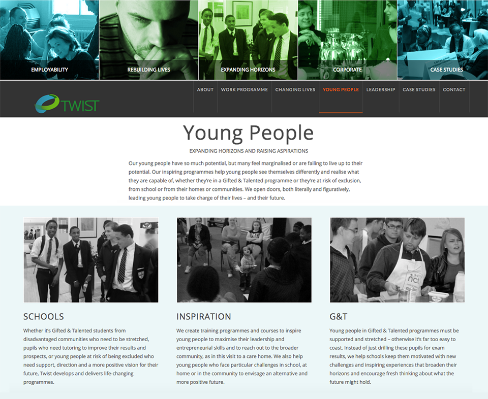 Copywriting (website, collateral and press releases) for this not-for-profit organisation working with marginalised young people and adults.